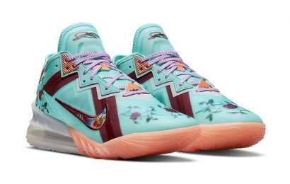 """Nike LeBron 18 Low """"Psychic Blue"""" is Decorated With Various Floral Patterns"""