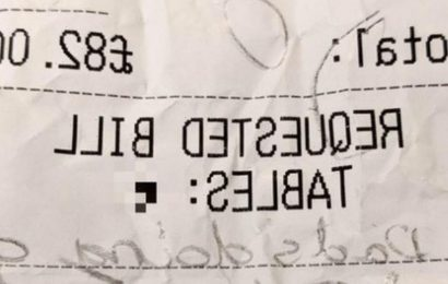 Restaurant workers in stitches as four-year-old leaves rude note about dad
