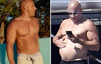 Vin Diesel looks unrecognizable in new shirtless photos as the actor rubs his belly while boating in Portofino